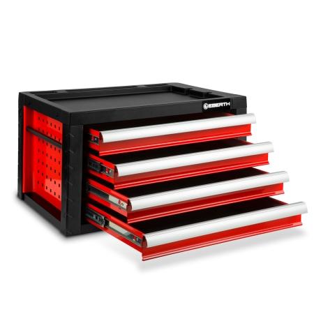 EBERTH Werkzeugkiste mit 4 Schubladen rot