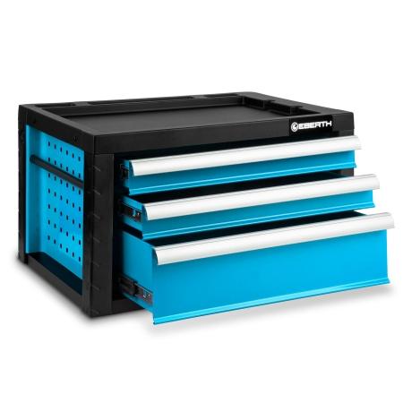 EBERTH Werkzeugkiste mit 3 Schubladen blau