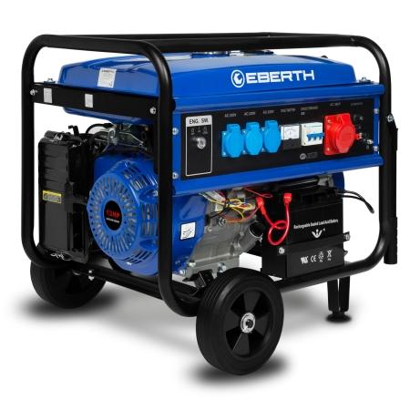 EBERTH 13 PS Stromerzeuger mit 5500 Watt und Fahrwerk und E-Start
