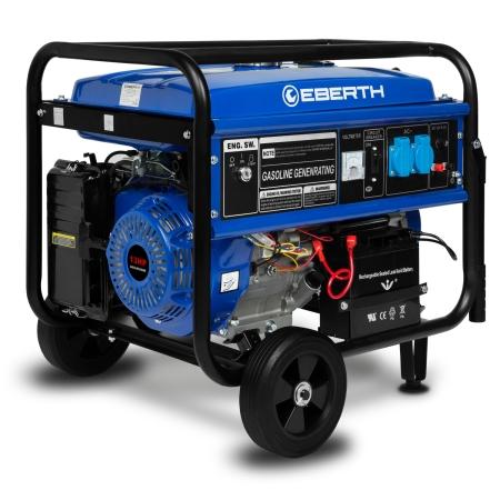 EBERTH 13 PS Stromerzeuger mit 5500 Watt, Fahrwerk und E-Start