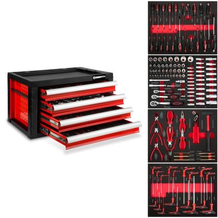 EBERTH Werkzeugkiste mit 4 Schubladen inkl. Werkzeug rot