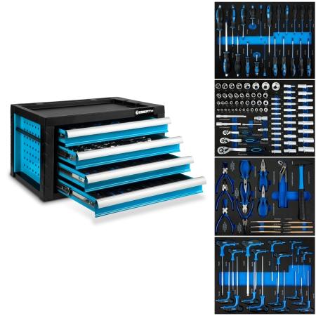 EBERTH Werkzeugkiste mit 4 Schubladen inkl. Werkzeug blau
