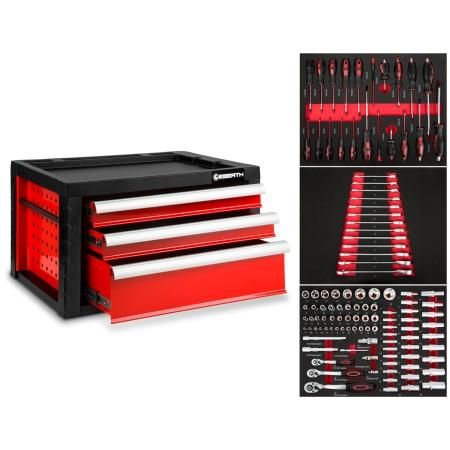 EBERTH Werkzeugkiste mit 3 Schubladen inkl. Werkzeug rot