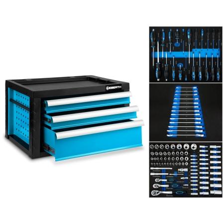 EBERTH Werkzeugkiste mit 3 Schubladen inkl. Werkzeug blau