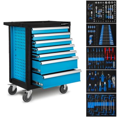 EBERTH Werkstattwagen mit 7 Schubfächern, 5 mit Werkzeug blau